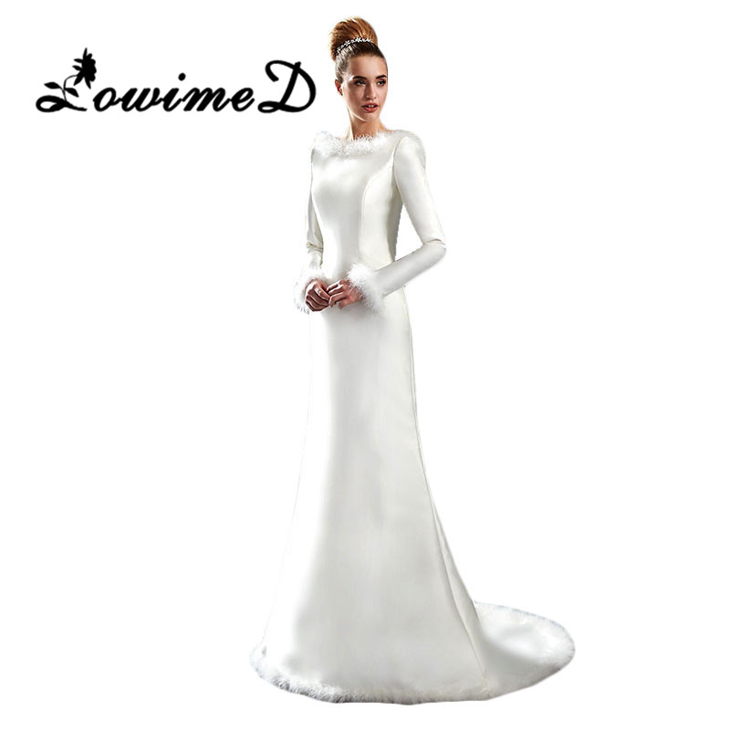 Buy Modest Warm Fur Winter Wedding Dress