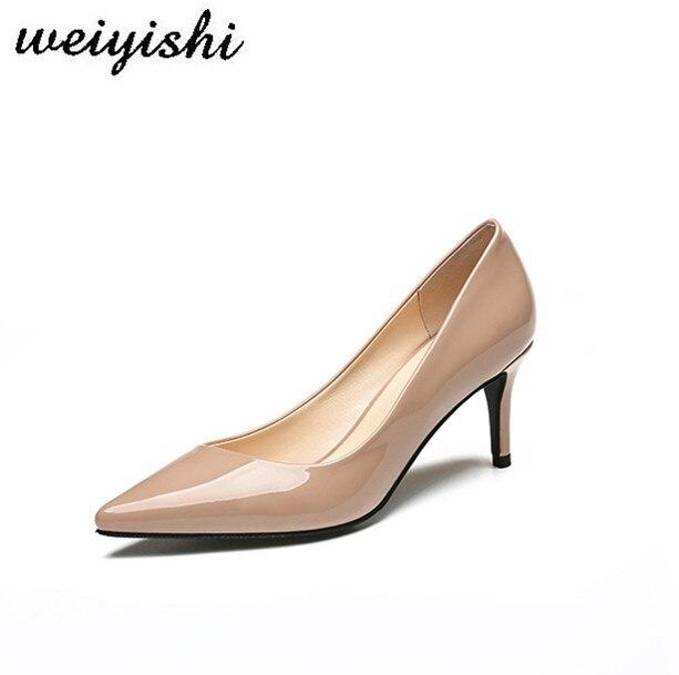Ayakk.'ten Kadın Pompaları'de Weiyishi 2018 yeni bayan ayakkabı ince topuk bayan ofis rugan sivri burun kadın pompaları 6.5 CM yüksek'da  Grup 1