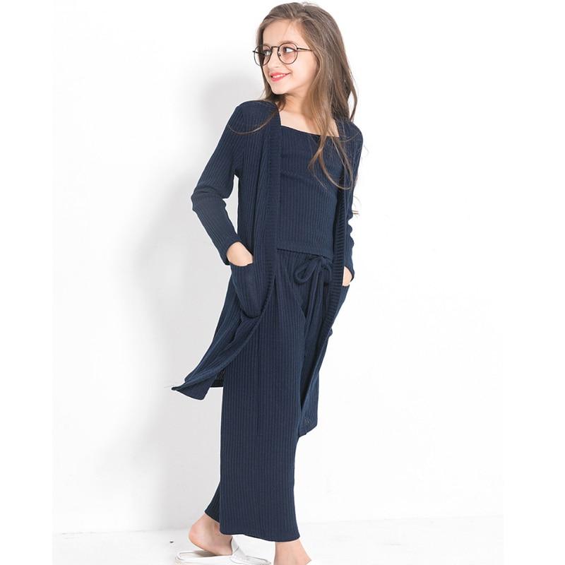 Teenage Girls Fashion 3pcs Children Clothing Set Autumn Winter Outfit Long Sleeve coat tops pants girls clothes 10 12 14 year недорого