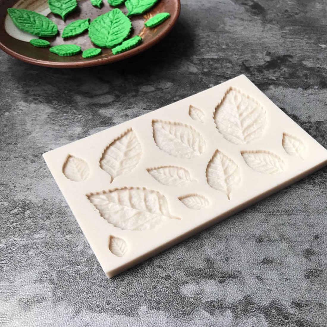 Date bricolage arbre feuille presse moulage feuille moule Silicone moule gâteau décor Fondant gâteau 3D feuilles Silicone moule