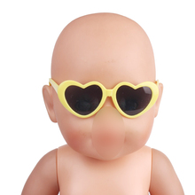 43 cm Baby dolls accessories new born Heart frame glasses fashionable sunglasses 6 colors fit American 18 inch Girls doll f455 doll accessories heart shaped round glasses suit for blythe doll glasses for american girl dolls sunglasses
