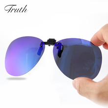 TRUTH men's clip on sunglasses polarized aviators sunglasses super light clip Glasses for driving mirror sunglasses in case