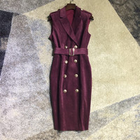 Women elegant sexy double breasted gold color buttons suede dress sleeveless purple black sashes sheath dresses new 2018 autumn