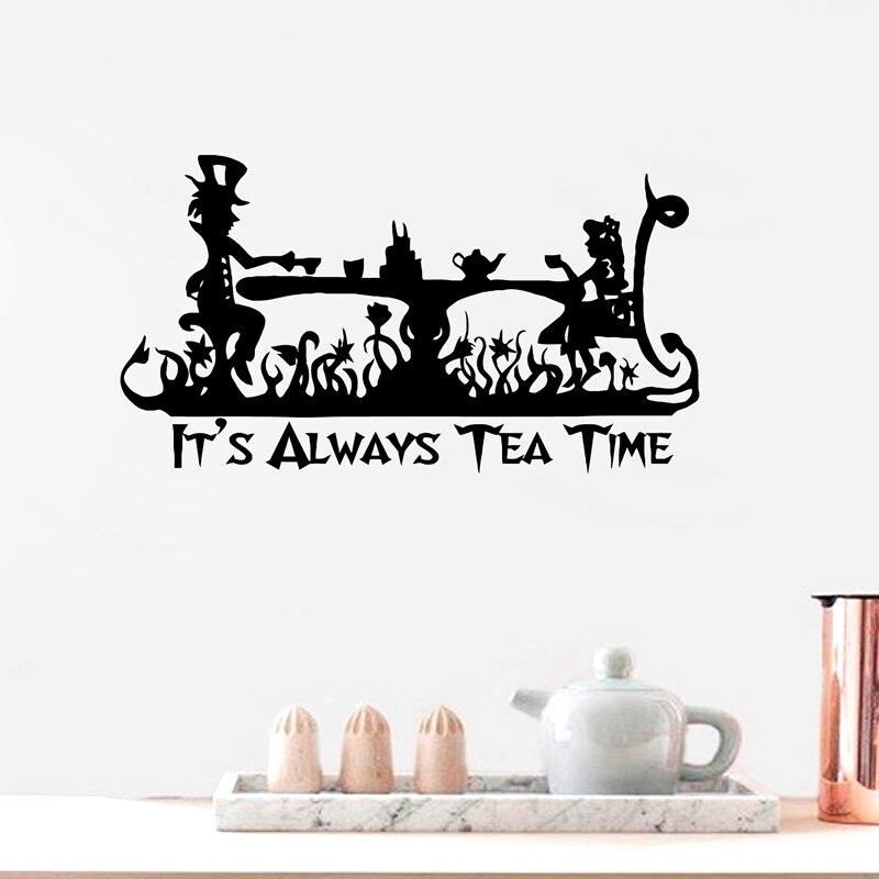 Alice Im Wunderland Vinyl Kunst Aufkleber Es Der Immer Tee Zeit Wand  Aufkleber Quote Home Kinder Küche Zimmer Mad Hatter Tee Party Decor