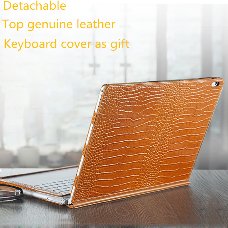Top Genuine Leather Case for Microsoft Surface Book 13.5'' inch Tablet Cover Protective Skin Detachable +Genuine leather for microsoft surface book 13 5 sleeve bag embossed crocodile genuine leather detachable flip case black skin for surface book