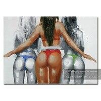Sanatçı El-boyalı Seksi Bayan Yağlıboya Tuval Sıcak Giyen Bayanlar için Bikini Yağlıboya Duvar Benzersiz Dekorasyon