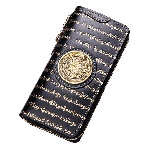 Handmade Women Carve Tibetan Modes of Ancient Chinese Music Medallion Wallets Purses Men Clutch Vegetable Tanned Leather Wallet