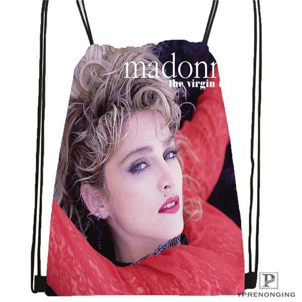 Custom Madonna Drawstring Backpack Bag Cute Daypack Kids Satchel (Black Back) 31x40cm#2018612-01-(15)