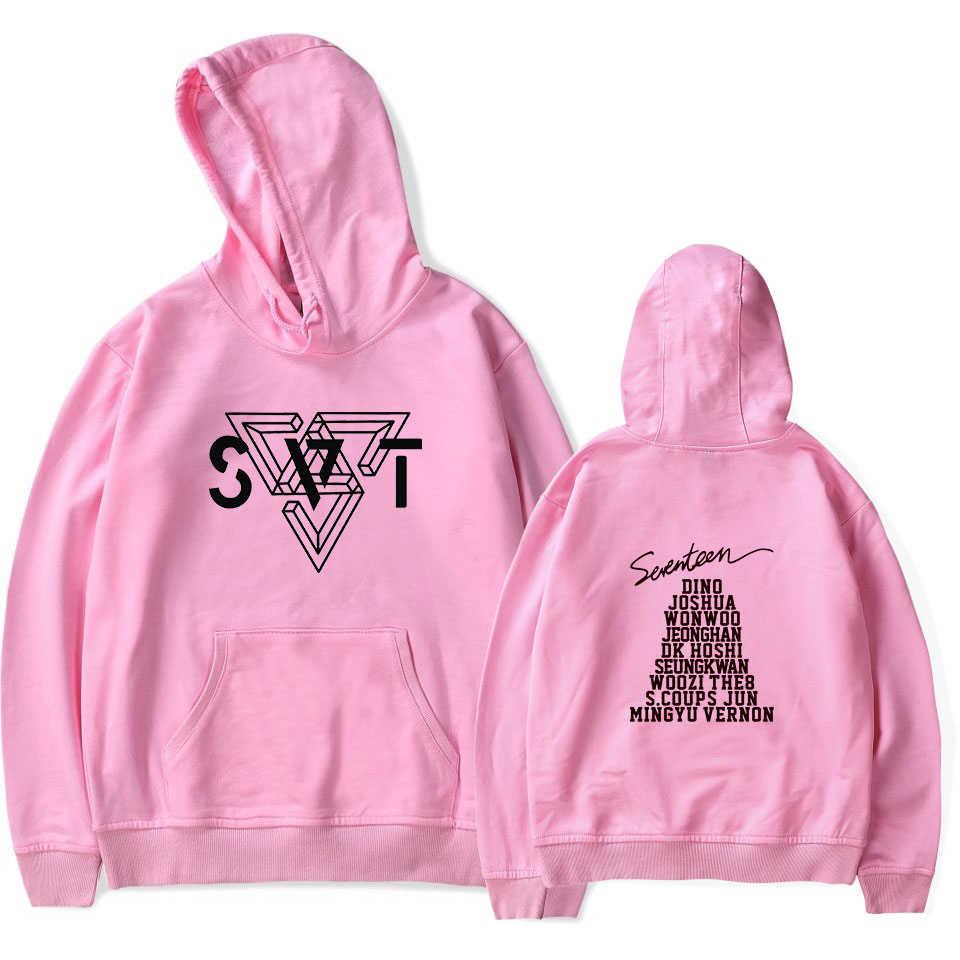 Seventeen17 толстовки хлопковое пальто с длинными рукавами кофты K поп Стиль одеть 17 карат Seventeen; Кей-поп толстовка с капюшоном Костюмы