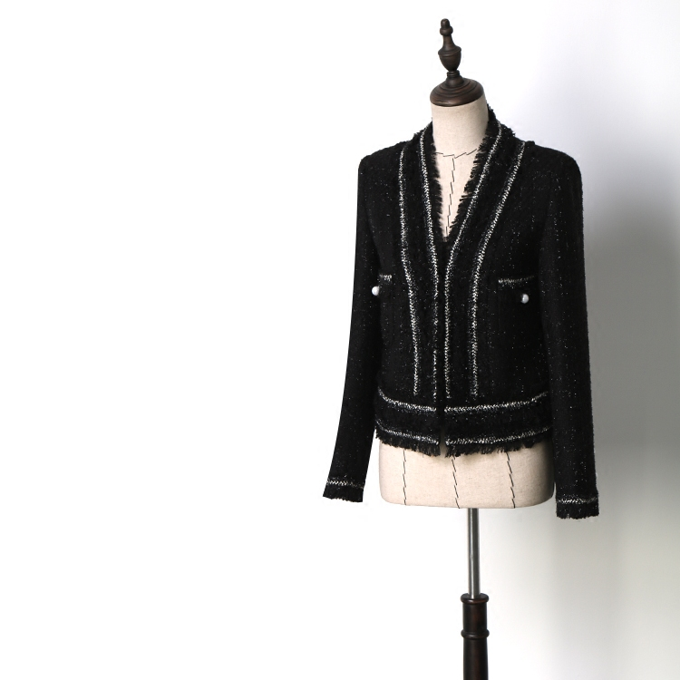 New spring and summer clearance mixer beauty lay his big glossy black silk luxury phnom penh small sweet wind coat