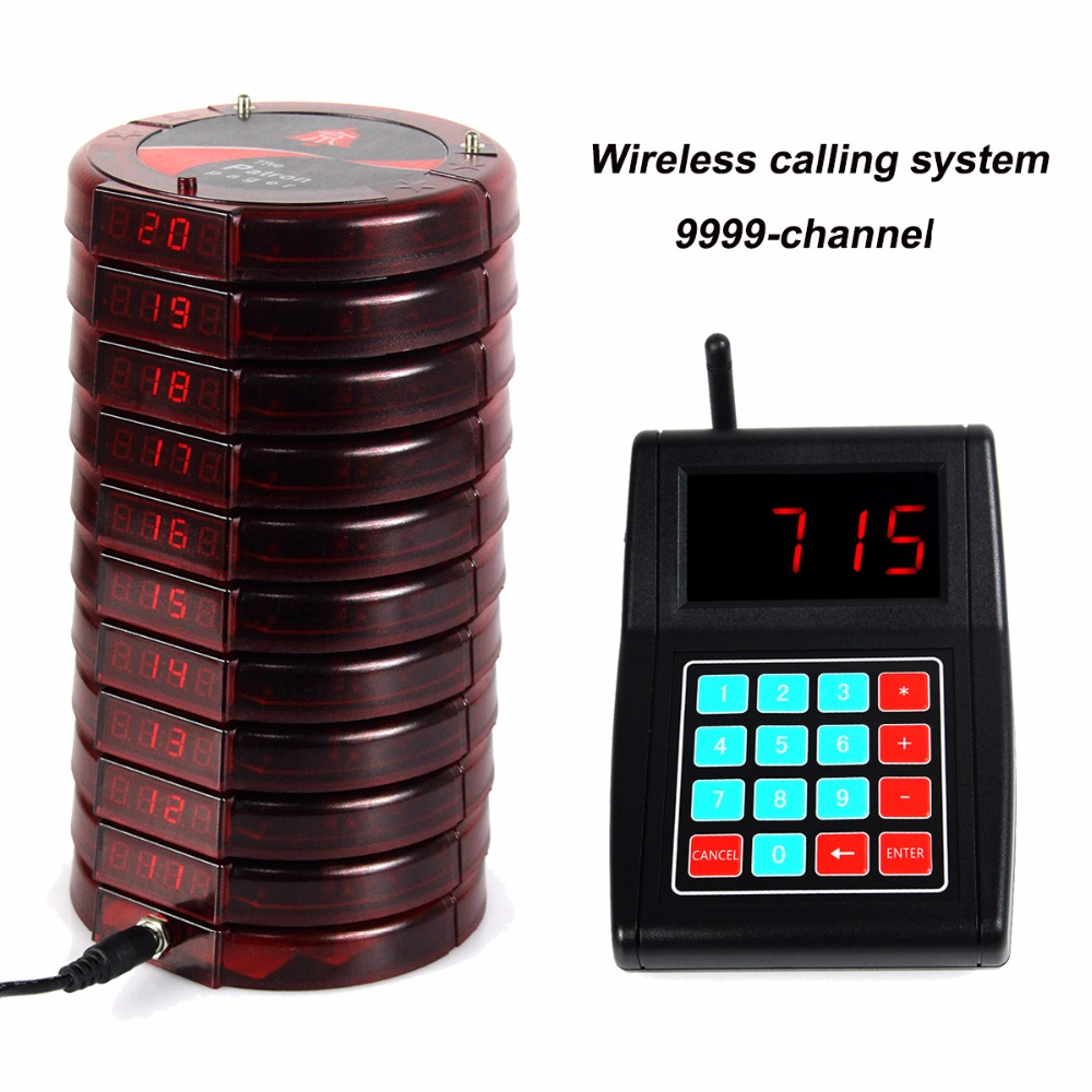 Restaurant Pager Wireless Paging Calling System 10pcs Digital Coaster Pager 1 Numeric Keypad Transmitter for Food Court F3198C 2 receivers 60 buzzers wireless restaurant buzzer caller table call calling button waiter pager system