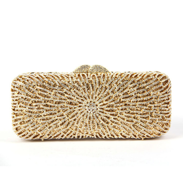 Long Square Gold Clutch Evening Bag with