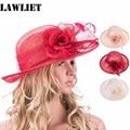 T156 Retro Womens Sinamay Floral Wide Brim Church Derby Hat