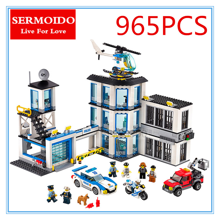 SERMOIDO 02020 965Pcs City Series The Police Station Set Children Educational Building Blocks Bricks Toys Model for Gift 60141 gonlei 02012 774pcs city series deepwater exploration vessel children educational building blocks bricks toys model gift 60095