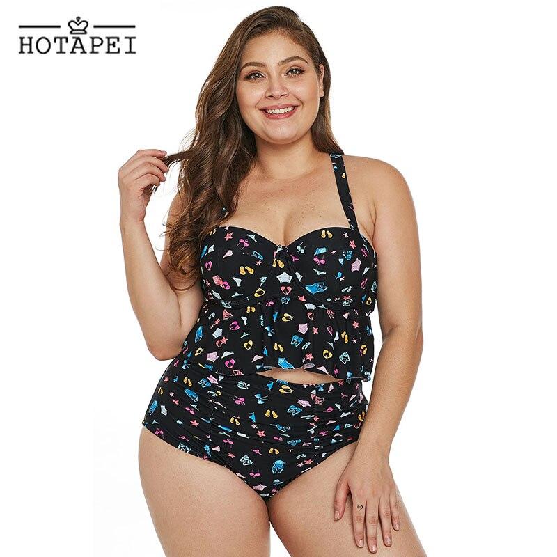 97b88a4bdfe45 Hotapei Plus Size Swimsuit Women High Waist Ruffled Bikini set Pattern Print  Tankini L756 Push Up