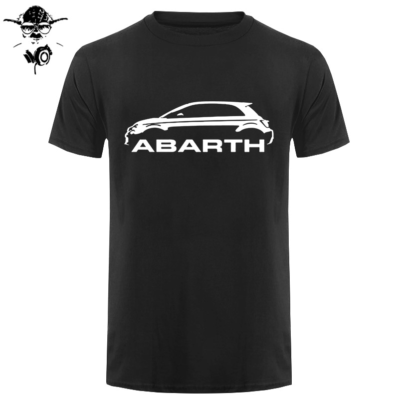 Men   T     shirt   Fiat 500 Abarth Classic Car s High Quality Round Neck s funny   t  -  shirt   novelty tshirt