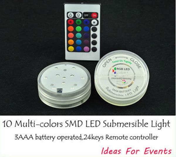 2015 nuevo envío gratis 500 unids/lote control remoto Multi-Colores sumergible Led florero luz, decoración de centros de mesa de boda