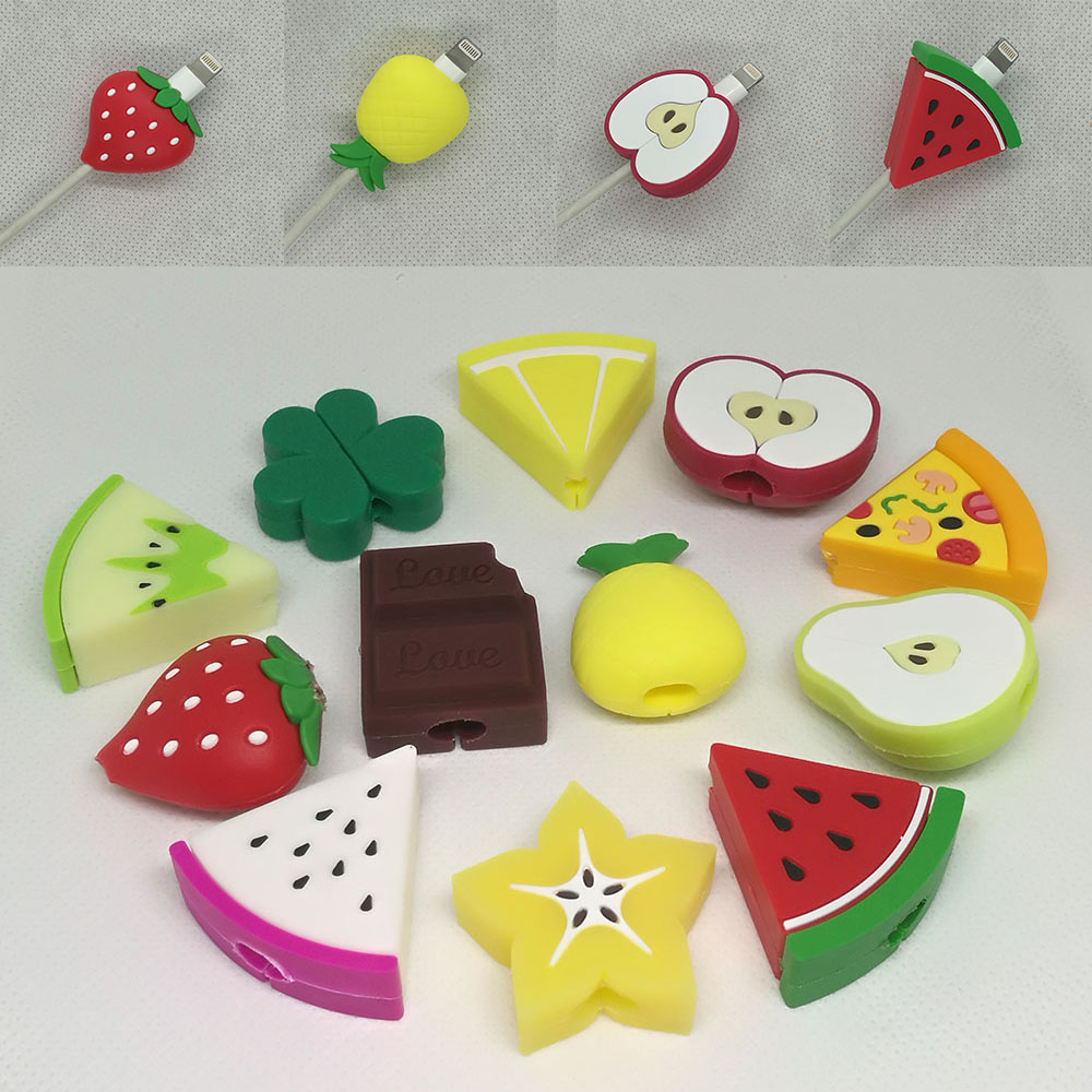 Cable Protector Bite For Iphone Cable Protector Biter Usb Fruit Watermelon Mobile Phone Connector Accessory Dropshipping Toy