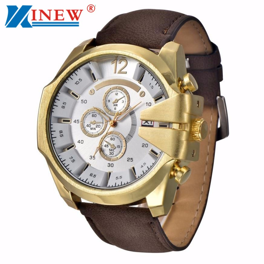 Quartz Watches Responsible Xinew 2018 Men Sports Watch Large Dial Men Analog Steel Case Quartz Clock Synthetic Leather Wrist Watch Relogio Masculino 40 High Safety Watches