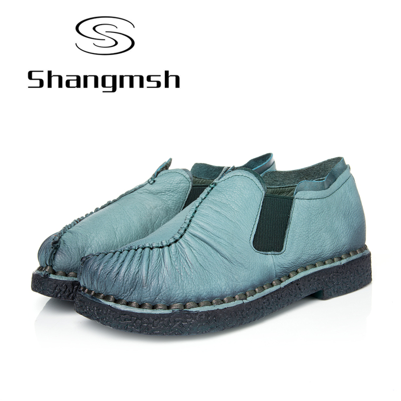 Shangmsh Slip on shoes for women Pleated Genuine leather Soft Women Flats 2017 Spring Autumn Ladies Casual Loafer Plus Size new bricks 22001 pirate ship imperial warships model building kits block briks toys gift 1717pcs compatible 10210