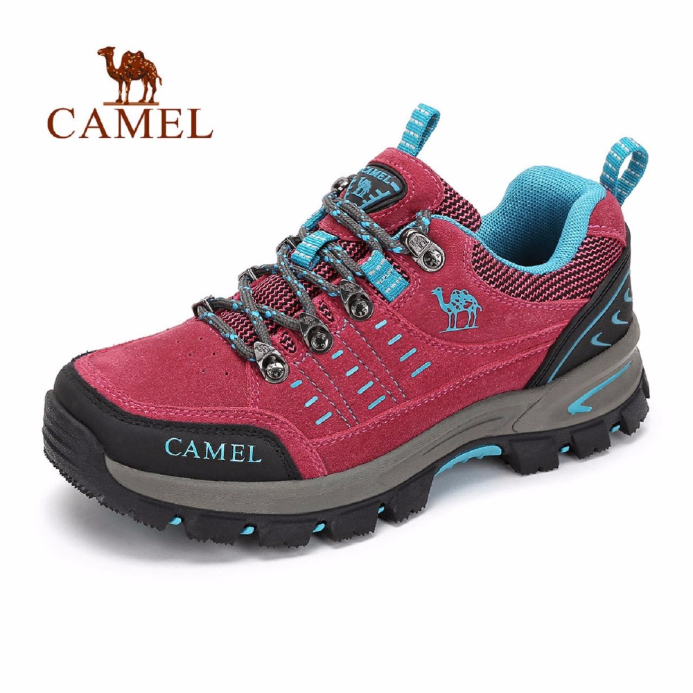 CAMEL Women Outdoor Hiking Shoes Comfortable Breathable Shock Absorption Lace-up Camping Trekking Shoes