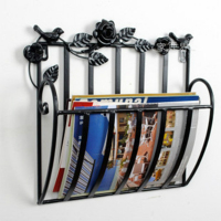 Metal shelf Wall living room newspapers rack books magazine holder 30X13X30cm white black