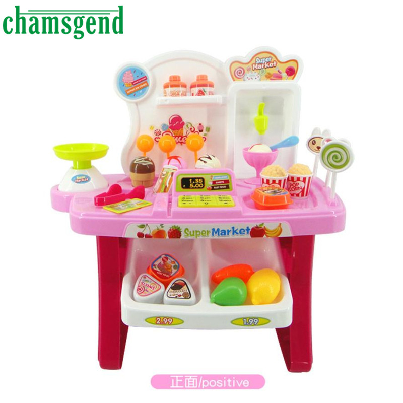 34pcs Pretend Play Mini Supermarket Cash Register Shopping Cart Toys Set Gift Le