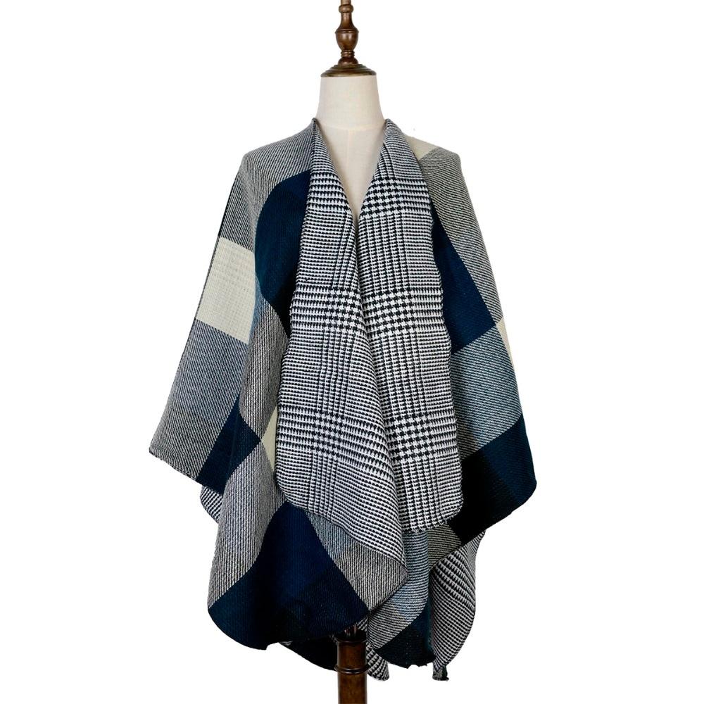 poncho women cashmere feminino inverno shawl cardigan plaid woven jacquard shawls capes stole 440g double sides wear