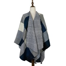 все цены на poncho women cashmere feminino inverno shawl cardigan plaid woven jacquard shawls capes stole 440g double sides wear