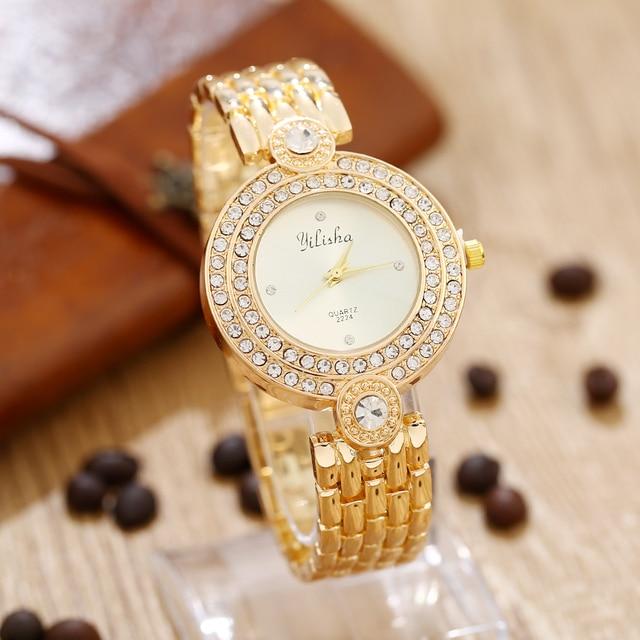 160565244138f New Fashion Watch Golden Quartz Watches Women Analog Wristwatches Crystal  Female Clock Women Steel Watch Relogio Feminino. Rated 5.0 5 ...