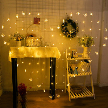2M Christmas Garlands Fairy Led String Lights Wedding Curtain Outdoor Home Holiday  Decoration Heart Xmas Party Butterfly Lights 220v 138pcs led fairy string lights star curtain lights waterproof outdoor christmas decorations for home wedding garlands natal