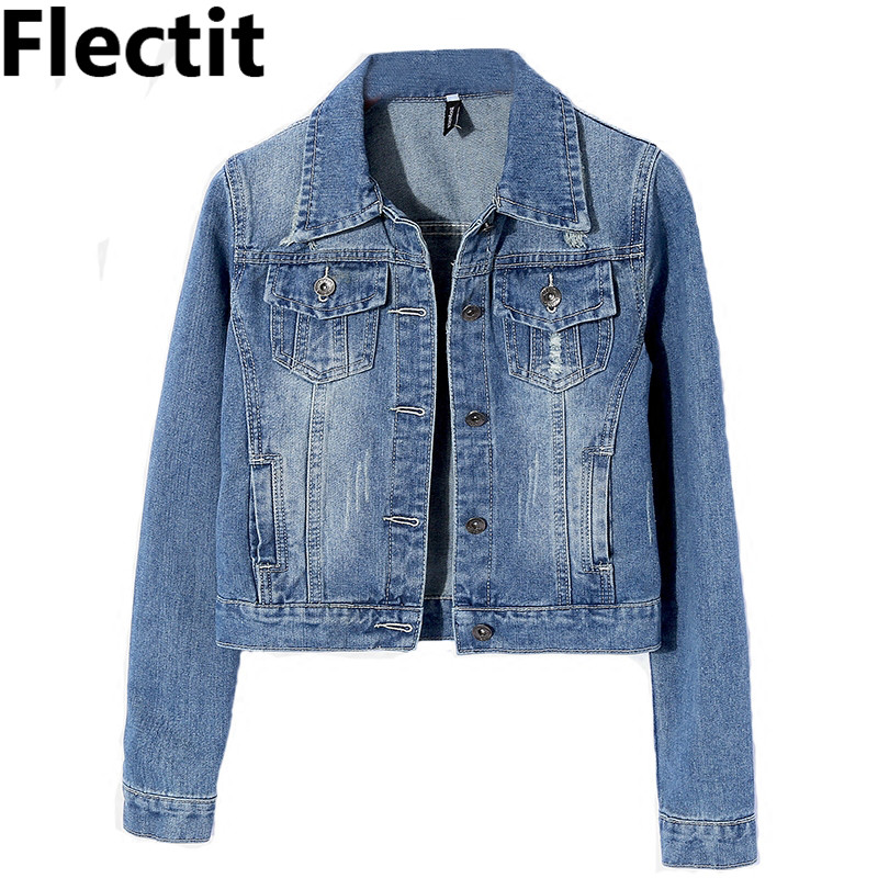 Flectit Women Classic Cropped Denim   Jacket   Slim Jeans   Jacket   Female Autumn Winter Casual   Basic     Jackets   & Coats