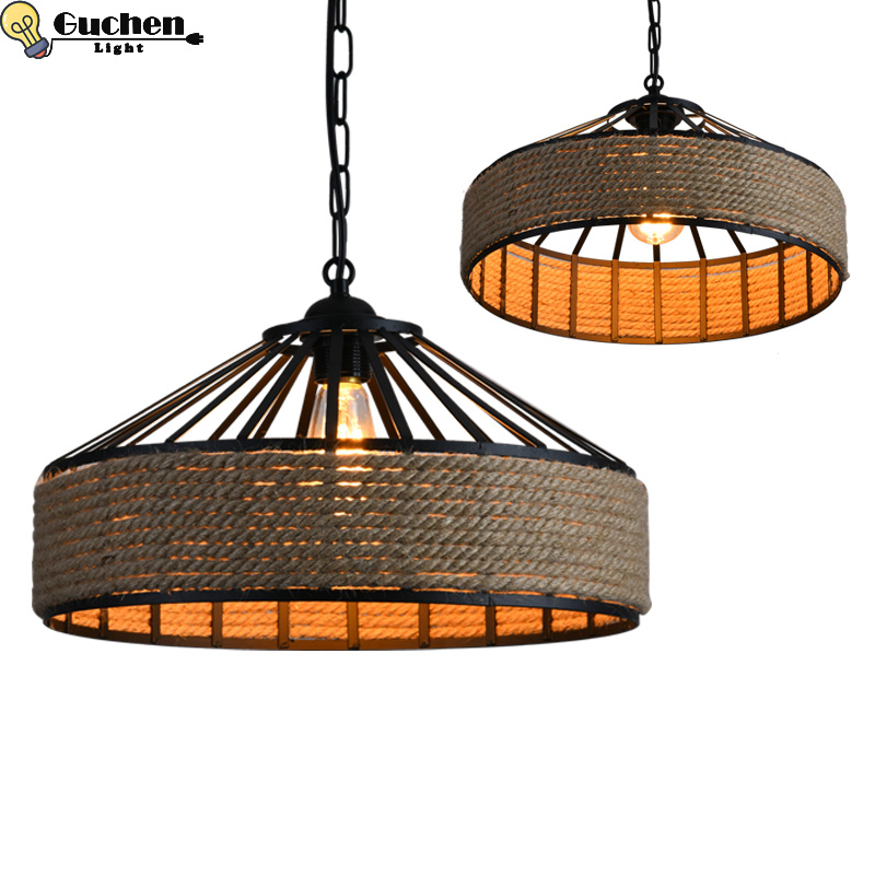 Vintage Rope Pendant Light Lamp Loft Creative Personality Industrial Retro Lamp Edison Bulb American Style Living Room/Bar E27 стоимость