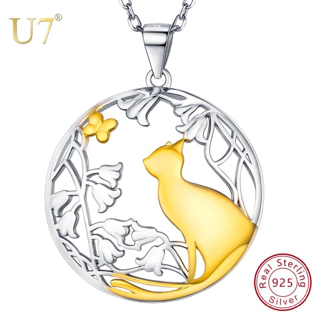 U7 925 Sterling Silver Necklaces Cat and Butterfly in the Garden Charm Pendant Necklace Fashion Jewelry Gifts for Women SC281