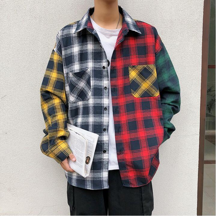 Image 5 - Spring personality Korean version of the trend of color matching plaid shirt men's casual hip hop loose long sleeved shirt 5XL-in Casual Shirts from Men's Clothing