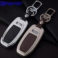 Jingyuqin Um Set Remoto 3 Botões Chave do Caso Da Tampa de Liga de Zinco + Couro intellige para Audi A4L A6L A5 A3 A7 A8 Q5 S5 S6 S7 Keychain