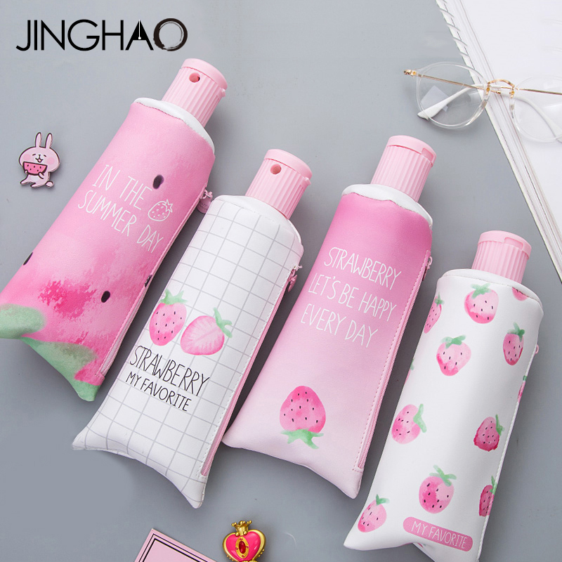 1PC Kawaii Cute Creative Toothpaste Design Pencil Bags Case with Sharpener the Best Gift Stationery for Students School Supplies minecraft игровой конструктор из бумаги враждебные мобы 30 деталей