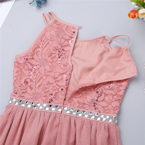 Image 5 - 6 14 Years Kids Girls Sleeveless Sequined Floral Lace Shiny Princess Tulle Dress for Birthday Party Summer Prom Clothes