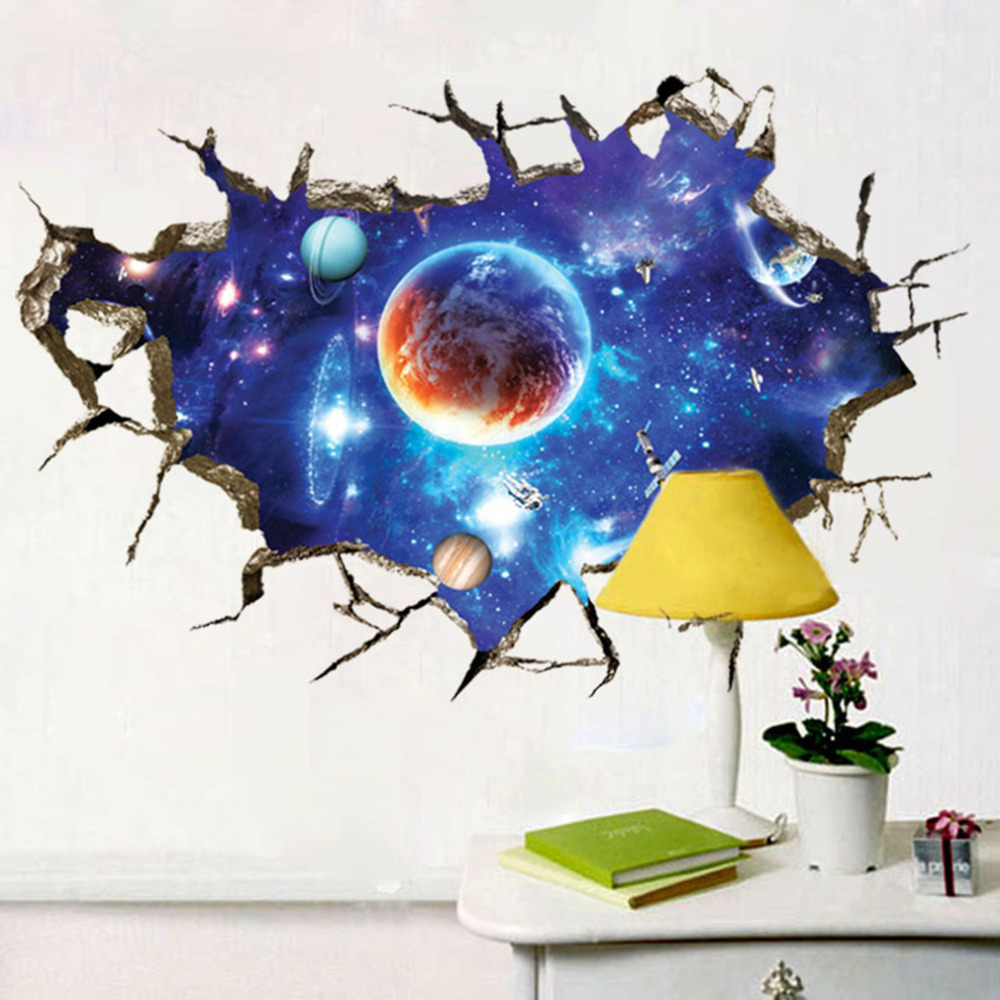 2017 Newly 3D Amazing Cosmos Outer Space Planet Wall Stickers Beautiful Galaxy Stickers muraux Living Rooms Home Detor Gift 3d space planet living room decoration wall stickers