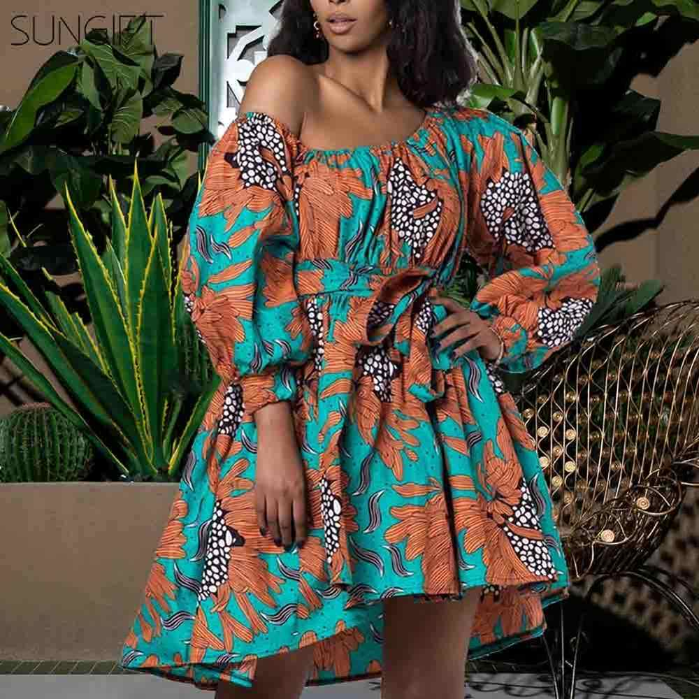 SUNGIFT Dashiki 2020 New Fashion African Dresses for Women Summer Tilting Shoulder Two Wear Africa Style Print Dashiki Top