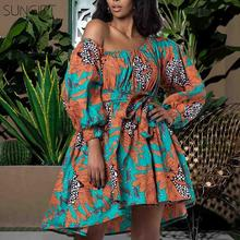 SUNGIFT Dashiki 2019 New Fashion African Dresses for Women Summer Tilting Shoulder Two Wear Africa Style Print Top