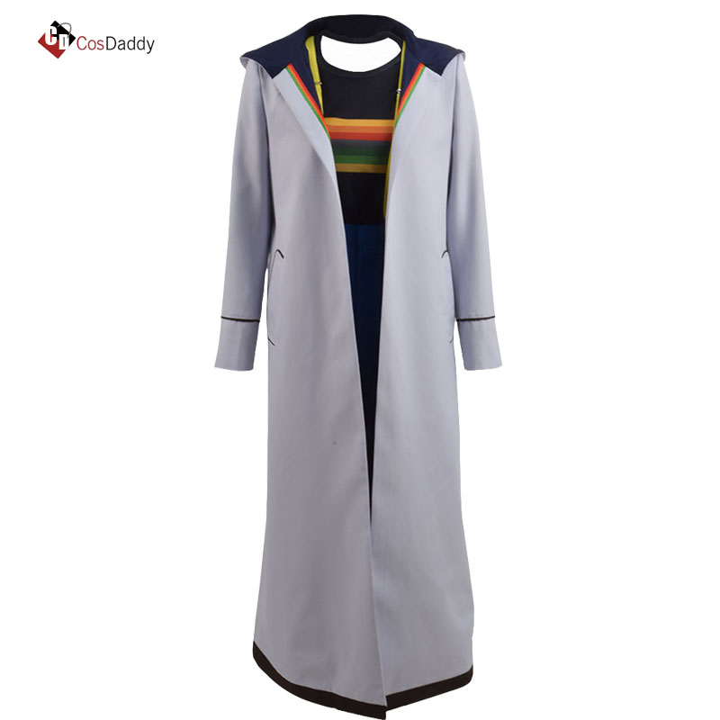 Doctor Who 13 Cosplay Costume Jodie Whittaker Coat outwear popular movie tv Trench pant T shirt