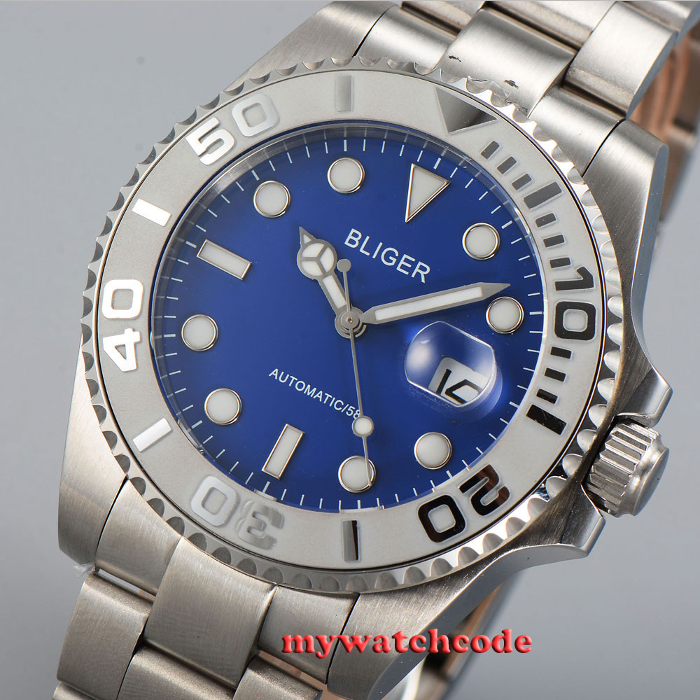 лучшая цена 43mm Bliger blue dial date blue luminous ceramic bezel sapphire glass automatic mens watch P29