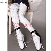 Изготовленные на заказ балетные Сапоги выше колена с ремешком, высокие сапоги на высоком каблуке 18 см, сапоги до бедра, новые женские сапоги