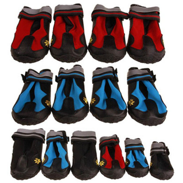 Pet Dog Boots Shoes Winter Super Warm Resistant Dog Waterproof Shoes For Large small Dogs Hiking Shoes Labrador 4 Pcs/set