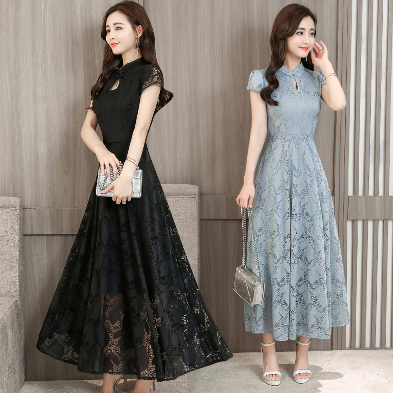 YICIYA Dresses Woman Party Night Plus Size Long Chinese Green black Lace Dress Maxi For big Women Elegant Short 2019 Summer in Dresses from Women 39 s Clothing