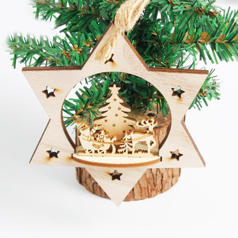 20Pcs MINI Wood Wooden Snowflake Xmas Wedding Tree Hanging Ornament Xmas Decor