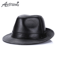 [AETRENDS] 2017 New Winter 100% Leather Jazz Cap Panama Hats for Men S/M/L Size Fedora Hat Genuine Leather Fedoras Z-5486