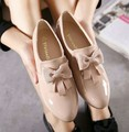 New design ladies work wear party round toe shoes sweet pink black bow tie slip on flats for woman patent leather shoes