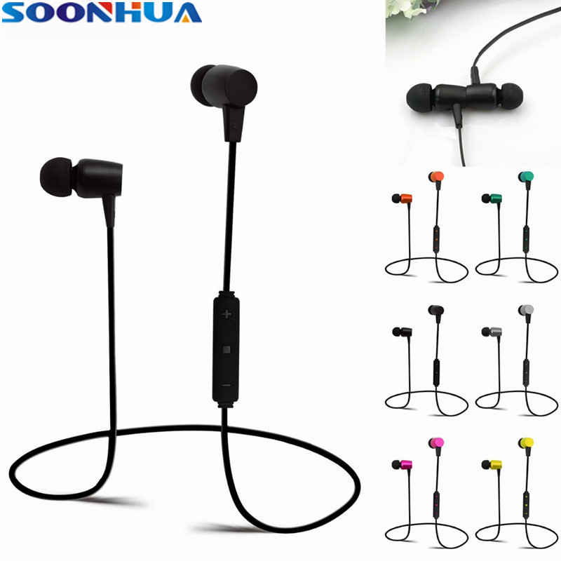 Ture SOONHUA Wireless Bluetooth Earphone Metal Texture Magnetic Headphone Sports Stereo Handsfree Headset For iPhone Samsung s8
